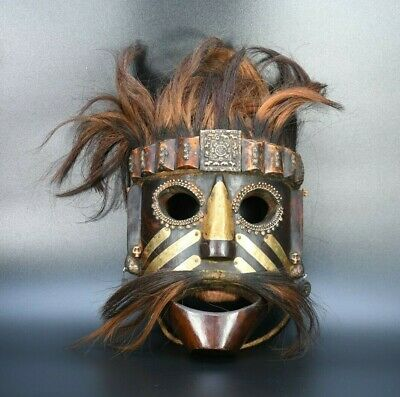 Tibetan mask Antique Hairy mask Nepal Rare old Tharu Exorcist / Shaman Mask