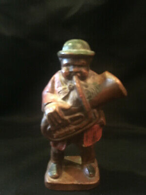 Carved Wood Baritone Playing Man Folk Art