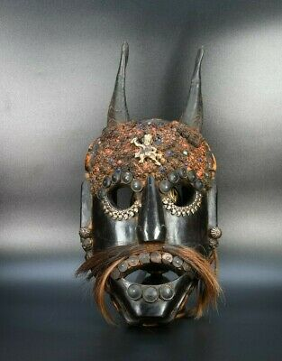 Himalayan mask shaman mask Antique Primitive Art Tribal wooden Wood Mask Nepal