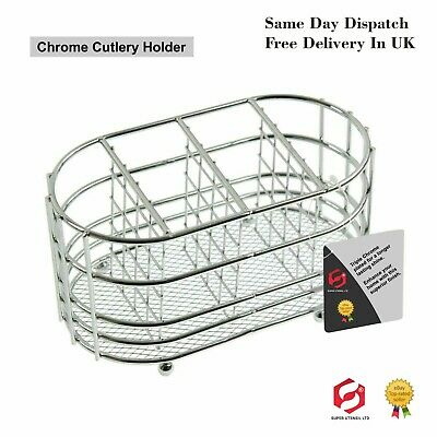 Oval Cutlery Holder Silver Chrome Plated Dry Drainer Caddy Stand Sink Tidy 38B