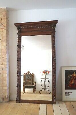 Large Antique Mirror French 19th Century Carved Oak  - Delivery Available