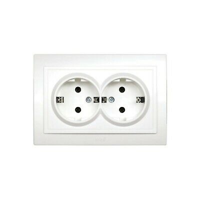 Double Schuko Mounting Socket White Flush-Mounted In-Wall 2-fach Schuko Outlet