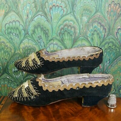 Antique Victorian Girls Shoes Black Velvet Gold Embroidery French Circa 1870