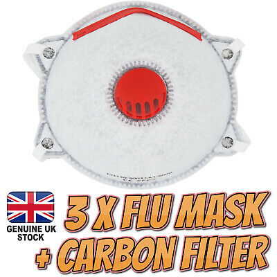 3 X Flu Virus Face Mask with Carbon Filter Coronavirus Surgical Bacteria Dust