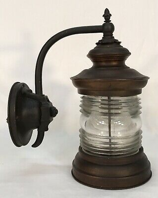 Antique Early 20th C Arts & Crafts Copper & Glass Outdoor Porch Light Fixture