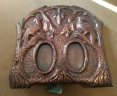 Copper Arts & Crafts Embossed Double Photo Frame Bird & Tree Design Newlyn Style