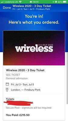 Wireless Festival 2020 Sunday 5th July Ticket