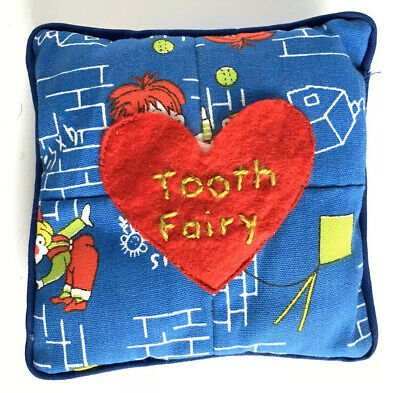 Tooth Fairy Blue Heirloom Pillow Red Heart Handmade Hand Stitch Writing Vintage