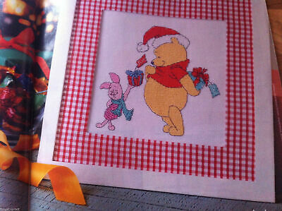 Adorable Disney Winnie The Pooh & Piglet With Christmas Gifts Cross Stitch Chart