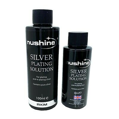 NUSHINE SILVER PLATING SOLUTION 100ml + 50ml PLATE METALS WITH REAL SILVER - USA