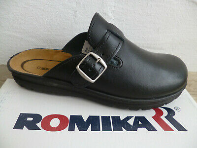Romika Women Clogs Sabot Mules Slippers Leather Black New