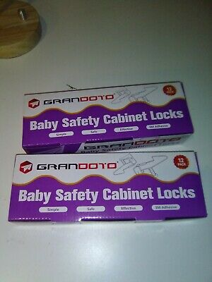 Baby Safety Cabinet Locks 12 Pack White-Grandoto Baby Proofing & Child Safetyx2