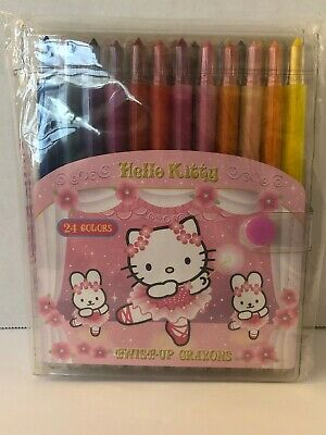 Vintage 2001 Sanrio Hello Kitty Twist-Up Crayon 24 Pack NEW & RARE!