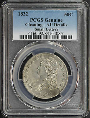 1832 Small Letters Capped Bust Half Dollar PCGS AU Details Cleaning