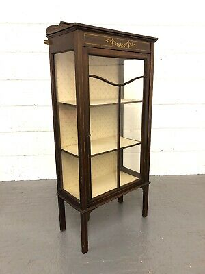 Antique Edwardian Inlaid Mahogany Glazed Display Cabinet With Key
