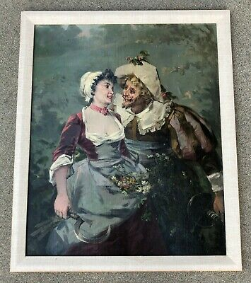 Antique European Impressionist Oil Painting On Canvas Board With Signed.