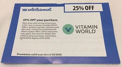 Vitamin World Coupon - 25% Off Purchase, Expires 06/30/2020
