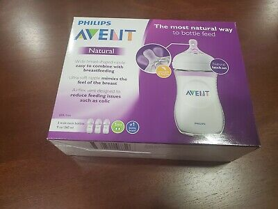 PHILIPS Avent SCF013/37 - 3 Pack 9oz Natural BPA-free Baby Bottle - Clear NEW