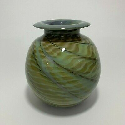 Art Glass Vase by Michael Nourot - early work 1973 - Beautiful Feathered Color