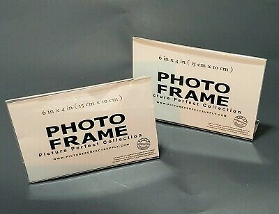 6x4 Clear Store Sign Holders Acrylic Picture Frames - 4x6 Horizontal Slanted 2pk