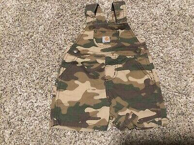 Boy/'s Carhartt Tan Camouflage set with White Tee Overalls size 9 Months 9M