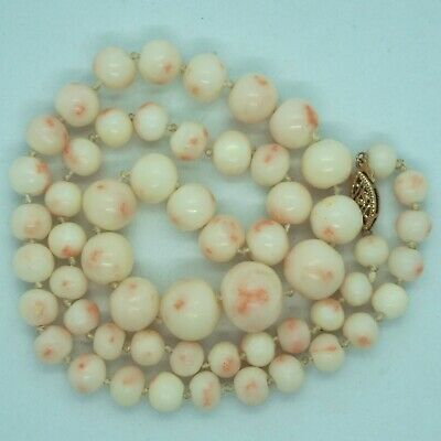 Victorian Deco Vintage 14k Gold Large REAL Angel Skin Coral Bead Necklace 18""