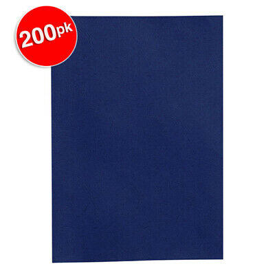 200PK Rexel Navy Blue Leather Grain Finish A4 300gsm Binding Cover/Report Folder