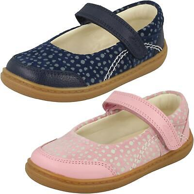 Infant Girls Clarks Casual Hook & Loop Mary Jane Leather Shoes Flash Stripe