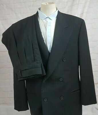 Giorgio Armani Mens Suit Double Breasted Black Striped Wool Vtg USA Size 42R 35W