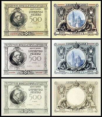 Facsimil Billete 500 Pesetas de 1925 (tres versiones) NE - Reproductions