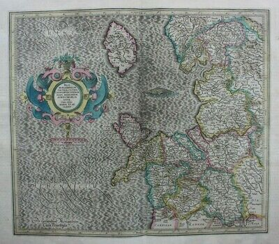 Antique atlas map NORTH WEST ENGLAND, NORTH WALES, ISLE OF MAN, Mercator, c.1613