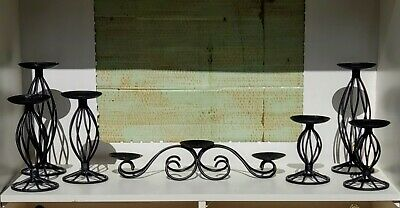 *6 PC* Black Wrought Iron French Country Pillar Candle Holder W/Candelabra Rare