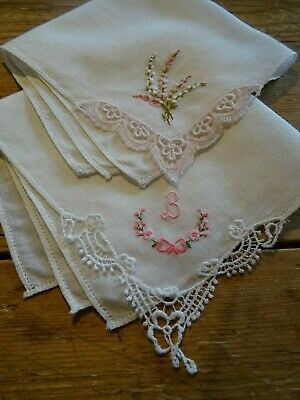 2 Vintage Lace Cornered Embroidered, Cotton Hankies, Handkerchiefs Initial 'B'