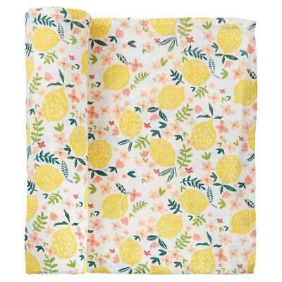 Mud Pie Kids Baby Girls Lemon Print Floral Muslin Cotton Swaddle Blanket
