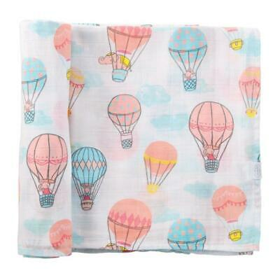Mud Pie Kids Baby Girls Hot Air Balloon Muslin Cotton Swaddle Blanket