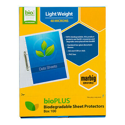 100pc Marbig A4 40 Microns BioPlus Sheet Protector/Storage/Document Sleeves