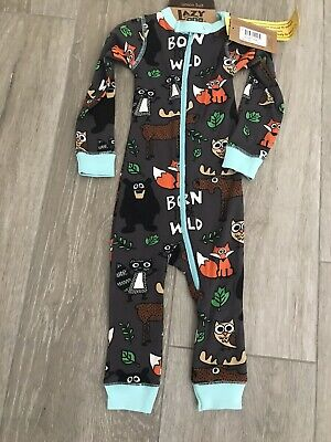Lazy One Infant Union Suit One piece Green Bear Moose Born To Be Wild Boy