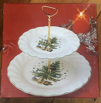 VTG NIKKO Two Tier Tid Bit Hostess Serving Tray Happy Holidays Christmas Tree