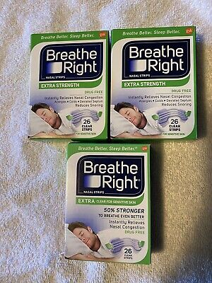 Lot of 3 Boxes Breathe Right Extra Clear Nasal Strips 78 TOTAL strips - sealed