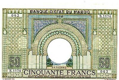 Morocco  … P-21 … 5 Francs … 1.3.1945 … Choice *AU-UNC*.