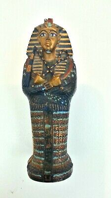 "Egyptian Decor King Tut Sarcophagus with Mummy Inside Figurine 4""  Statue"