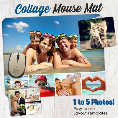 Personalised Custom PHOTO COLLAGE Mouse Mat PC Computer Gaming Picture Pad Gift