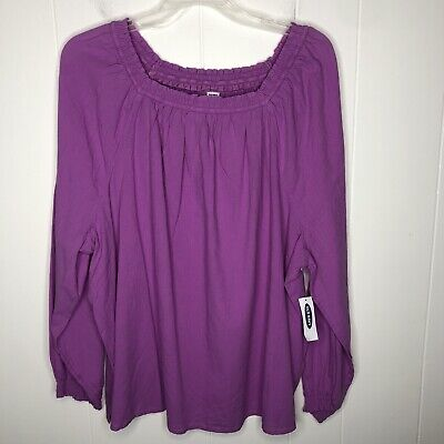 Old Navy Women's Smocked Square Neck Boho Top Size XXL Purple Long Sleeves NWT