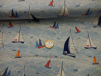 Nautical Boat//Yachts Printed Polycotton Fabric Two Colours available!
