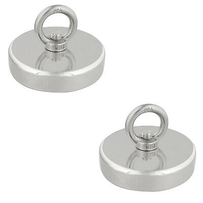Fishing Magnet, 880 lb. Capacity - 2 Pack Underwater Magnet for Treasure Hunting