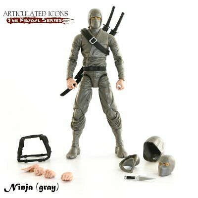 """BNGREY: Fwoosh Articulated Icons Feudal Series Basic Ninja Grey 6"""" action figure"""