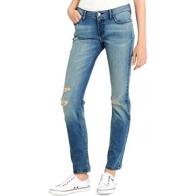 Calvin Klein Jeans Womens Destroyed Mid-Rise Faded Straight Leg Jeans BHFO 1487