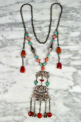 Antique Chinese Minority Carved Carnelian Coral Turquoise Silver Bell Necklace