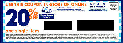 Bed Bath & Beyond Coupon: 20% Off One Item In Store or Online, Exp. 3/17/20
