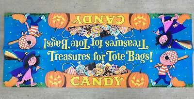 1960s HERSHEY'S HALLOWEEN STORE BANNER - DOUBLE-SIDED HOLIDAY ADVERTISING SIGN